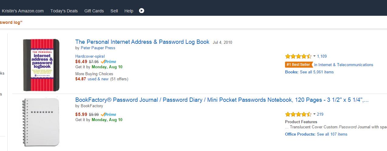 Amazon-Best-Seller-Password-Log