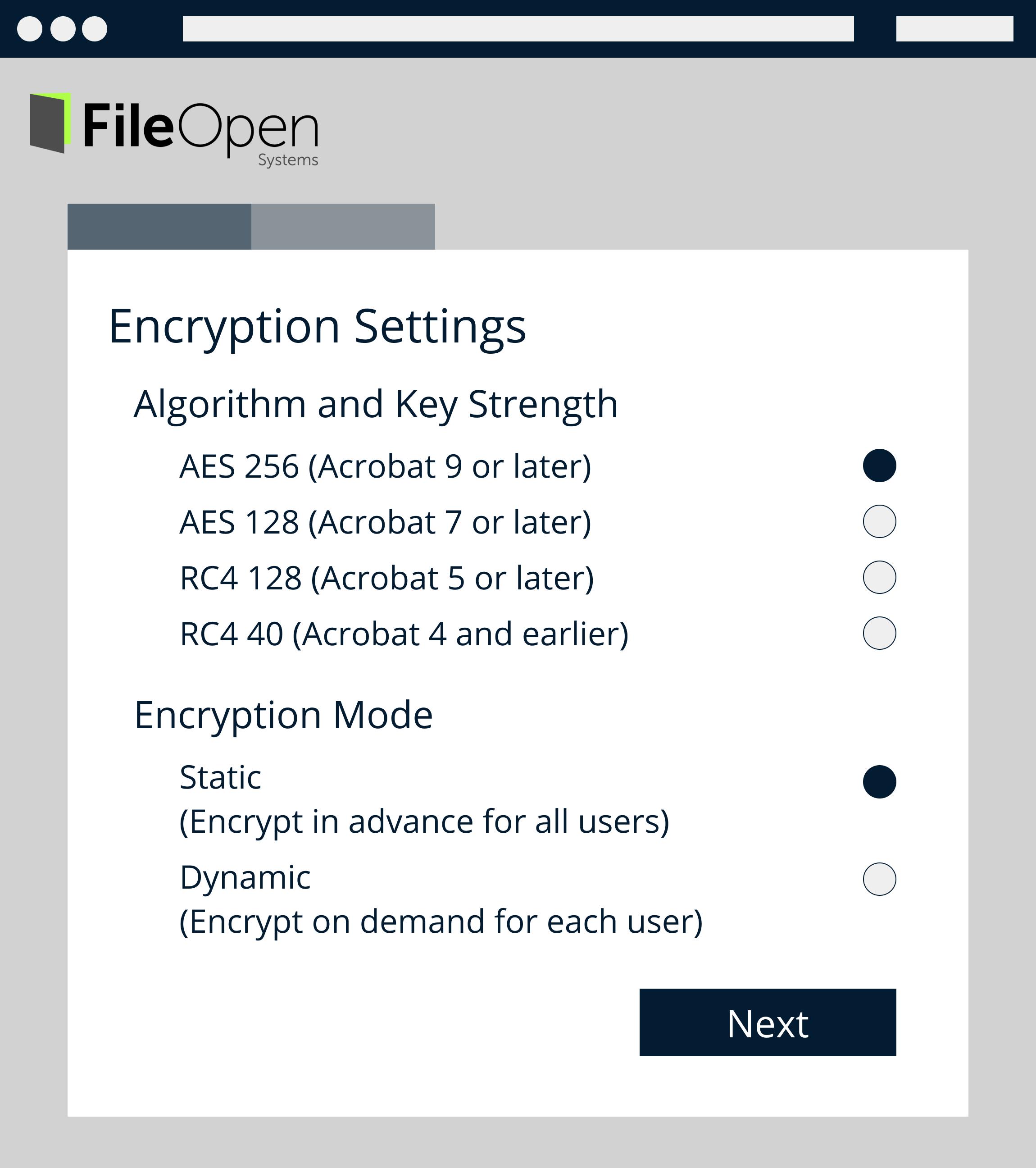 Encryption Settings