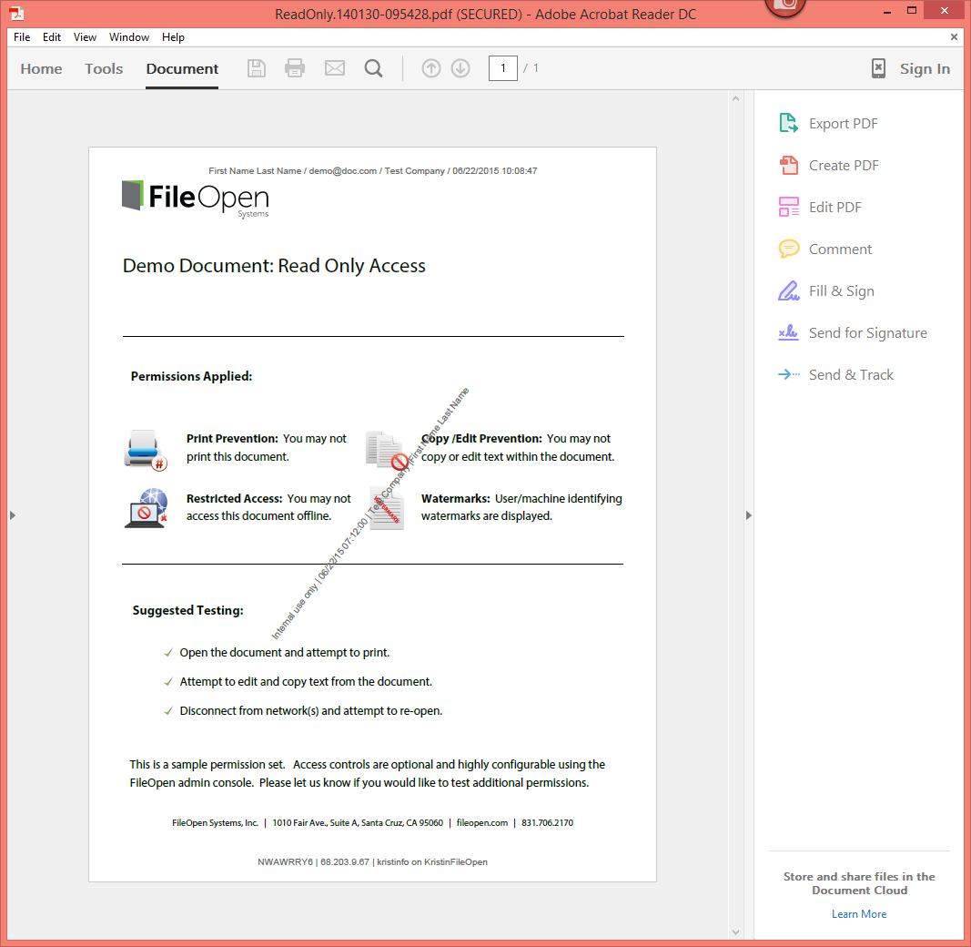 Fileopenuseridentifyingwatermarksinpdf Fileopen Document Security Blog  Document Control How To Edit A Pdf In Livecycle Solution For